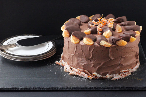 Orange and Chocolate Cake with Dried Orange Peels and Chocolate dipped tangerine slices. from #dietersdownfall.com