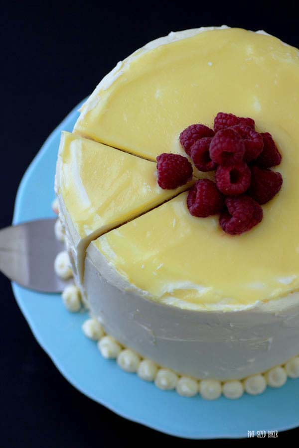 I'm ready to slice into this decadent three layer raspberry and lemon cake. It looks so perfect!