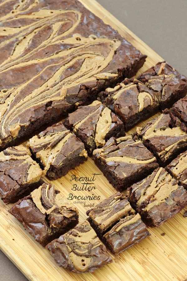 Deliciously fudgy, Peanut Butter Brownies. One pot, one pan, many smiles. from #dietersdownfall.com