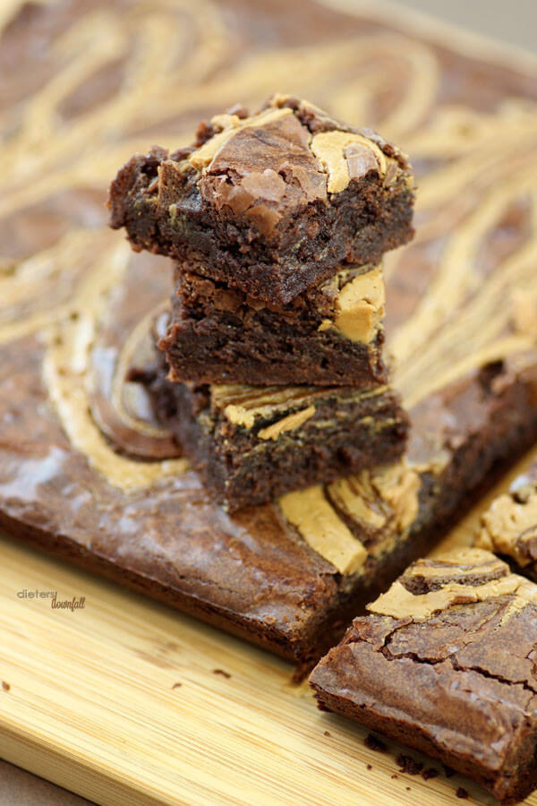 The best fudgy brownies with a peanut butter swirl. Perfection! from #dietersdownfall.com