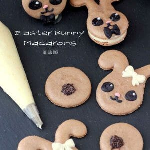 Easter Bunny Macarons! Learn how to make French Macrons into adorable bunnies! All the tips and tricks in the blog post.