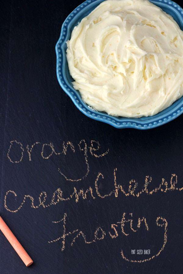 Image of a bowl of frosting on a chalk board with the title of the recipe.