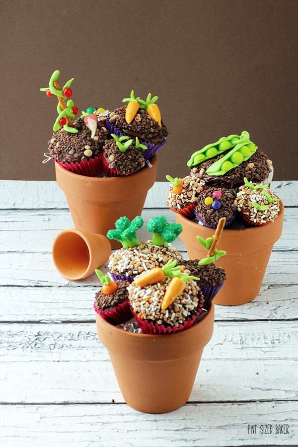 "Candy ""veggies"" top these fun brownie treats! Now this is how you get your kids to eat their veggies."