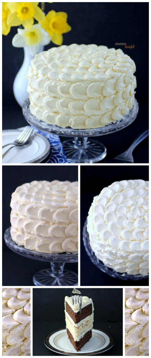 A beautiful Petal Frosting design over a Chocolate Cake and Cheesecake Combination. from #dietersdownfall.com