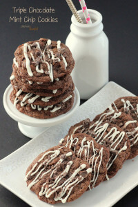 Triple Chocolate Mint Chip Cookies. Chocolate Cookie, Chocolate Mint Chips, White Chocolate Drizzle. from #DietersDownfall.com