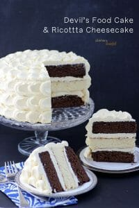 Two layer's of Devil's Food Cake surrounding a Ricotta Cheesecake and...