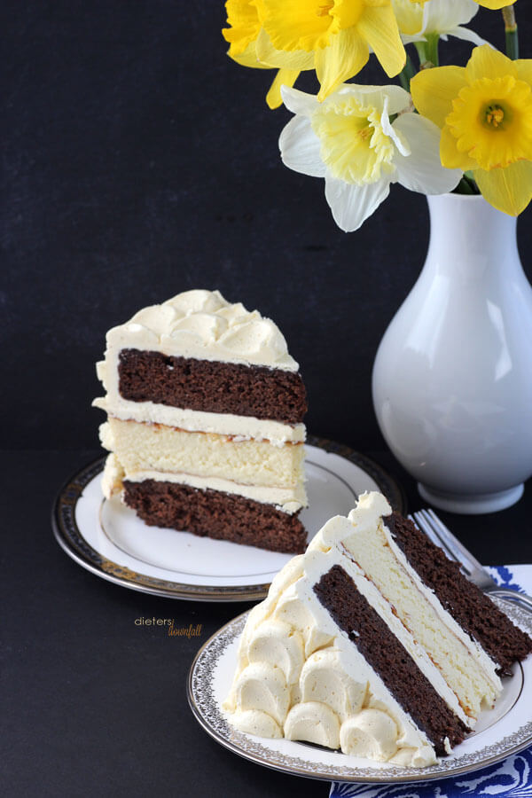 The perfect combination of Ebony and Ivory. Chocolate cake and Cheesecake in one awesome dessert. from #dietersdownfall.com