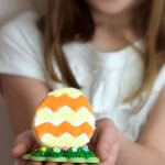 Adorable 3D Easter eggs stand up to display. Use them as seating cards at your Easter Brunch.