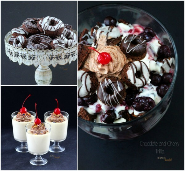 Make a decandet Trifle with Chocolate Donuts, White Chocolate Pudding and some Sweetened Cherries. from #DietersDownfall.com