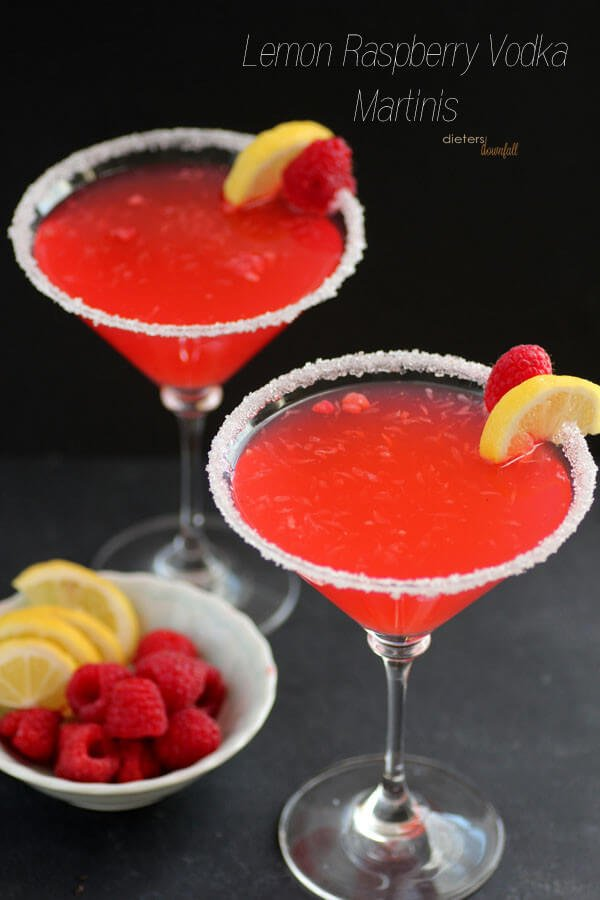 Raspberry lemon infused vodka martinis