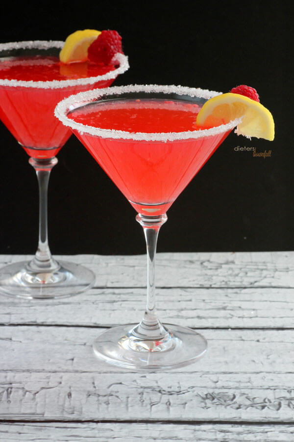 Bright Pink Raspberry infused Vodka Martinis. from #DietersDownfall.com