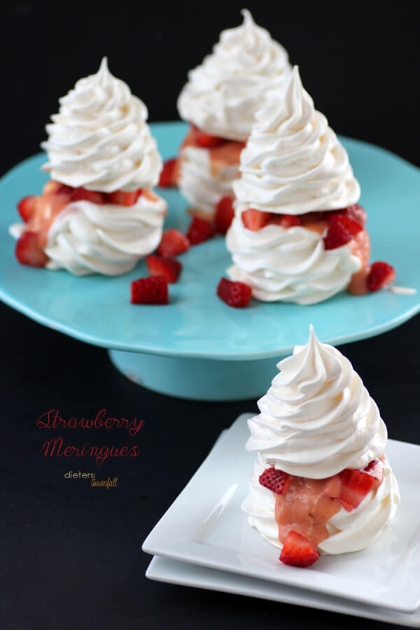 Strawberry Meringues. Light and crisp meringue shells filled with strawberry curd, crème fraîche, and fresh fruit. from #dietersdownfall.com