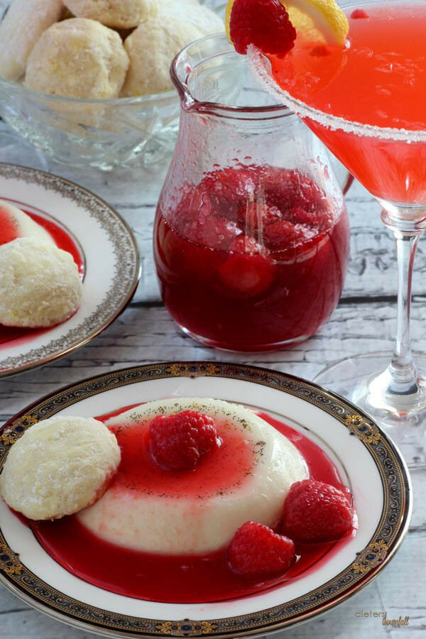 Panna Cotta with Raspberry Sauce, a Lemon Cookies, and a Raspberry Lemon Infused Martini.from #dietersdownfall.com