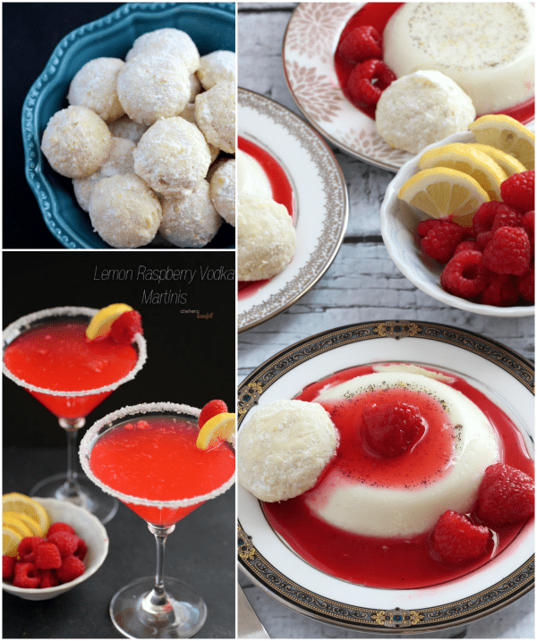 Vanilla Bean and Lemon Panna Cotta, Lemon Snowball Cookies, and Raspberry Lemon infused Vodka. from #DietersDownfall.com