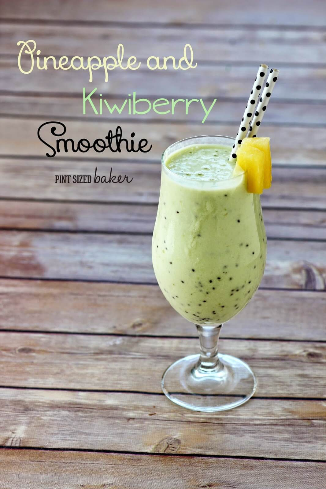 Make this Pineapple and Kiwiberry Protein Smoothie for a great summer breakfast. Look for Kiwiberries in a clam box at your local grocery store.