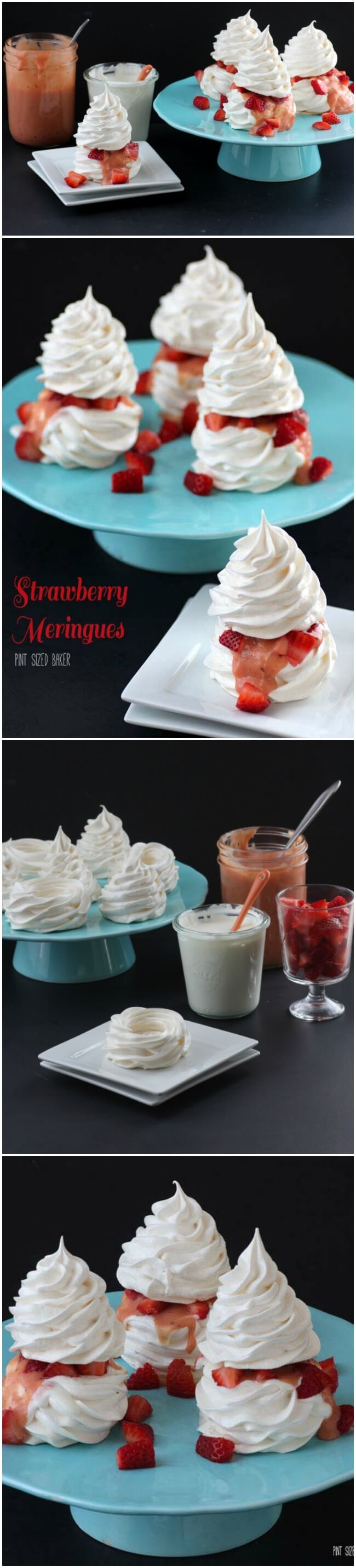 These Strawberry Meringues start off with a meringue shell, get filled with Crème Fraîche and strawberry rhubarb curd and then topped off with fresh strawberries and a meringue top!