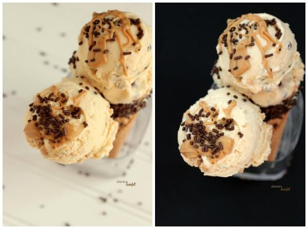Peanut Butter Ice Cream with mini chocolate chips and PB magic shell topping. from #dietersdownfall.com