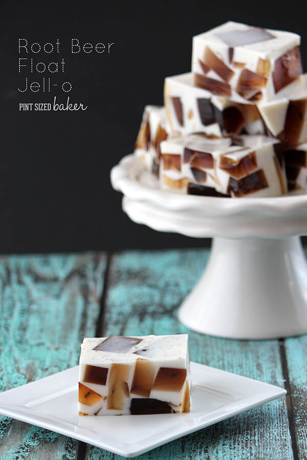 Enjoy a root beer float without a mess! This root beer jello dessert is a fun summer treat that everyone loves!