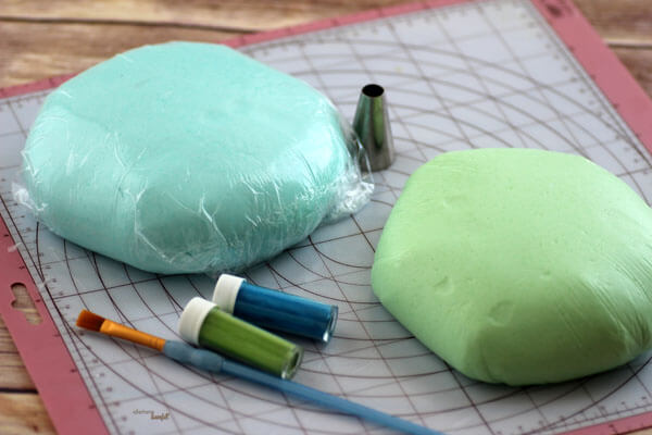 Lime Jello Fondant and Berry Fondant with tools to make mermaid scales. from #DietersDownfall.com