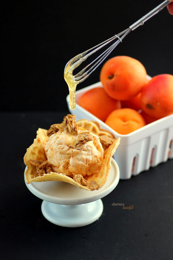 Sweeten up your tart apricot ice cream with a dollop of honey. from #DietersDownfall.com