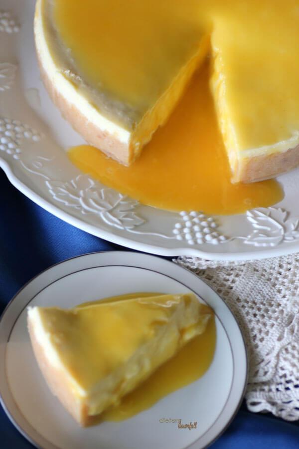 Sweet, Hawaiian Lilikoi Curd topped Cheesecake. A great island twist. from #DietersDownfall