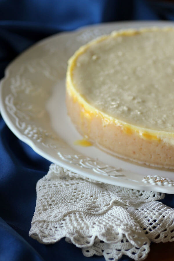 Cheesecake with Macadamia Nut Shortbread Crust and a layer of lilikoi in the center. from #DietersDownfall