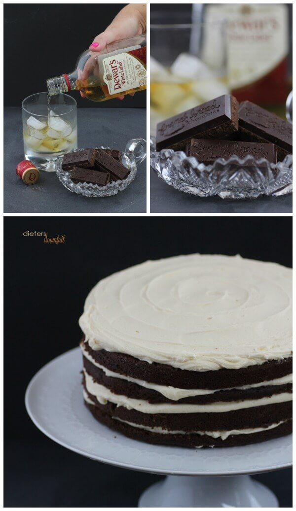 Dewar's Whiskey and French Broad Chocolates make an amazing cake that you won't forget! from #DietersDownfall