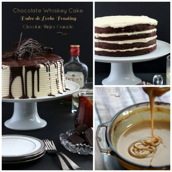 Homemade Dulce de Leche turned into frosting with Chocolate Whiskey Cake and Whiskey Ganache. from #DietersDownfall.com