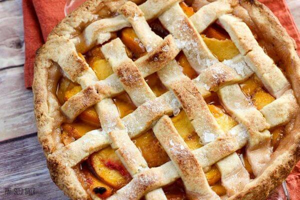 A beautiful lattice topped peach pie. It's simply perfect!