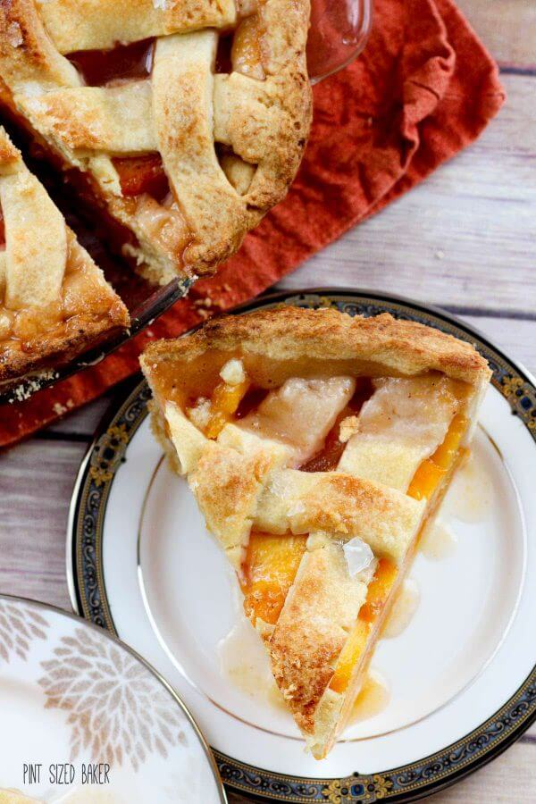 A generous slice of this perfect peach pie is ready and waiting for you. Well, after you bake it of course.