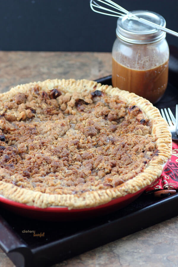 A crispy, crumbly topping baked on an apple pie. from #DietersDownfall