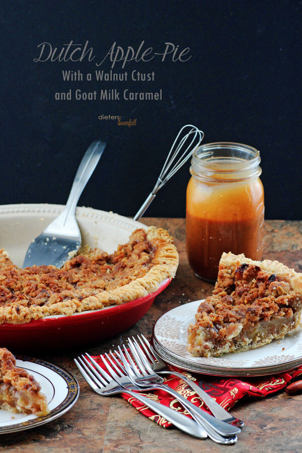 A great American classic - Dutch Apple Pie with a walnut crust and goat milk caramel. from #DietersDownfall