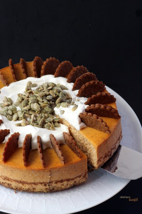 Go on! Enjoy a slice of this Pumpkin Cheesecake. I enjoyed it! from #DietersDownfall.com
