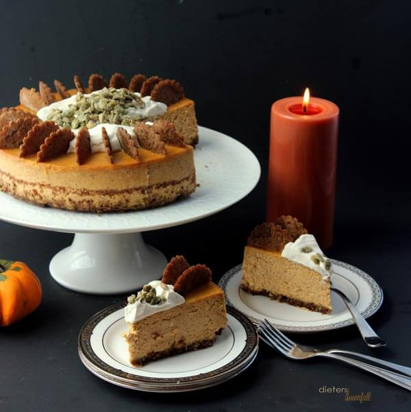 Your dinner guests called. They are requesting this Pumpkin Cheesecake! from #DietersDownfall.com