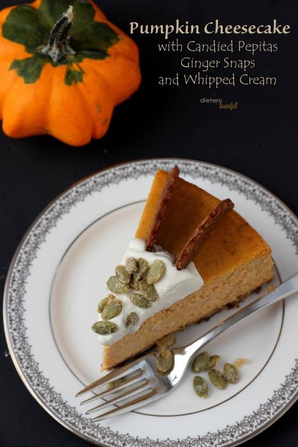 Easy Pumpkin Cheesecake Recipe all dressed up with Ginger Snaps, Sugared Pepitas, and Whipped Cream. from #DietersDownfall.com