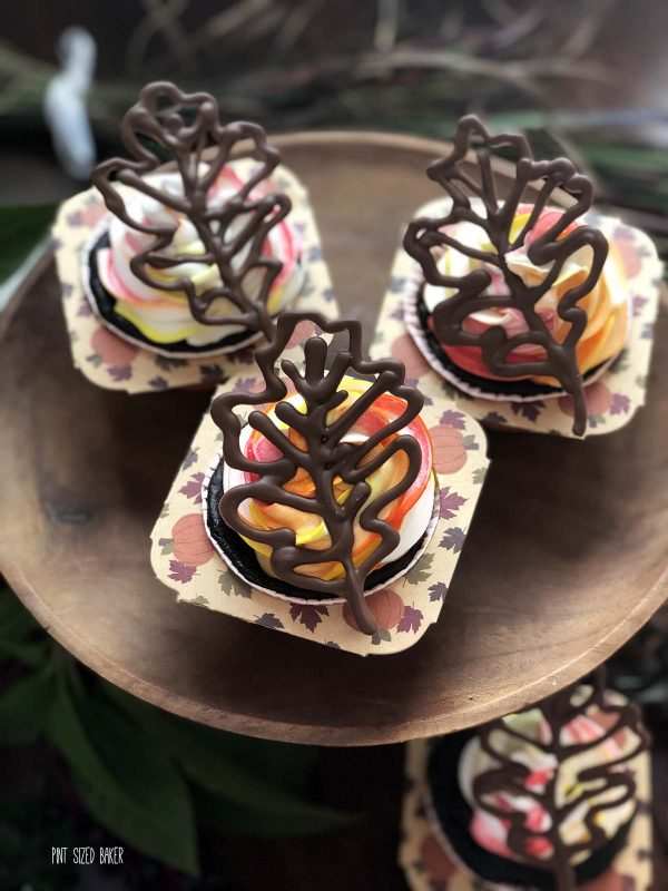 Chocolate Fall Leaves on cupcakes.