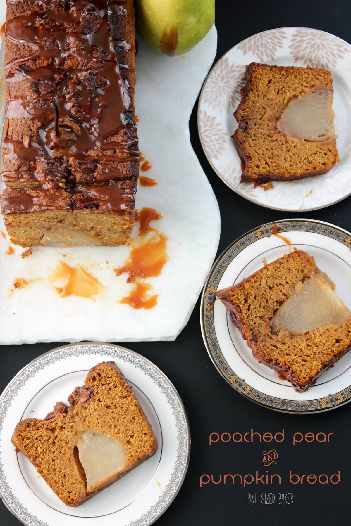 This fall, make some magic! This Poached Pear and Pumpkin Bread has the great flavors of Autumn all in an easy quick bread!