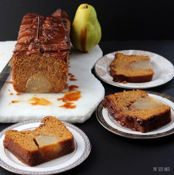 An easy pumpkin quick bread baked with poached pears inside! Get your holiday baking done with this delicious bread!