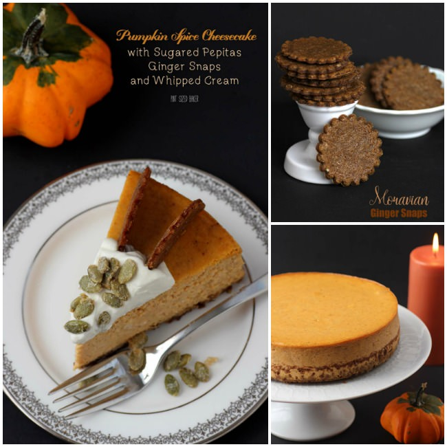 Pumpkin SPice Cheesecake, Moravian Ginger Snap Cookies, and an easy pumpkin cheesecake.