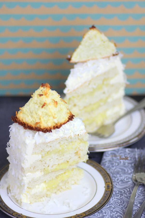 Layers of Coconut Cake, Coconut Pudding, and Coconut Frosting topped with Macaroons. Coconut Love. from #DietersDownfall
