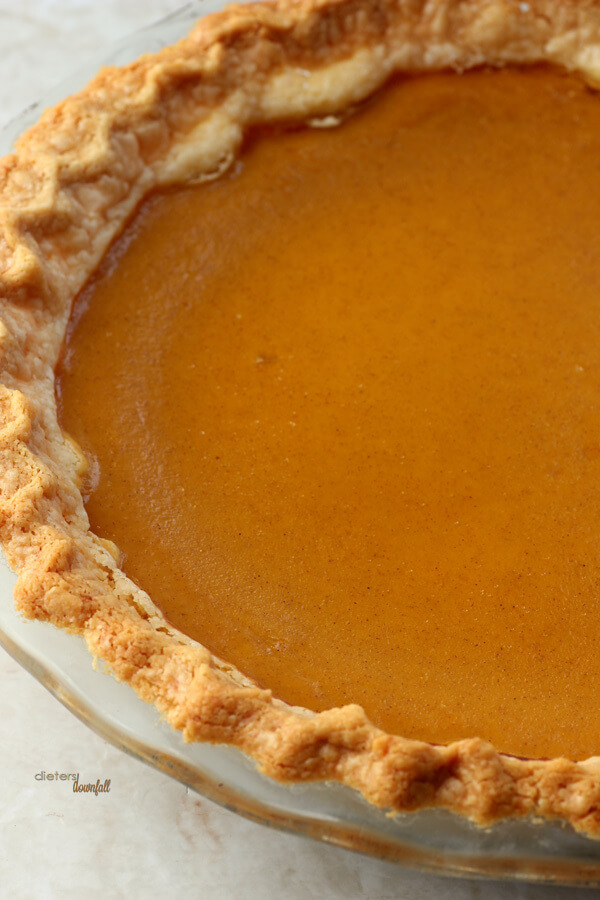 All homemade Pumpkin Pie! Made from a whole pumpkin, roasted and pureed to be flavored and baked!