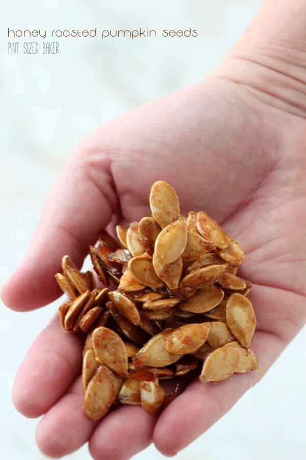 Save those Pumpkin Seeds!! These delicious honey roasted pumpkin seeds are an easy snack to make and they are so good for you!