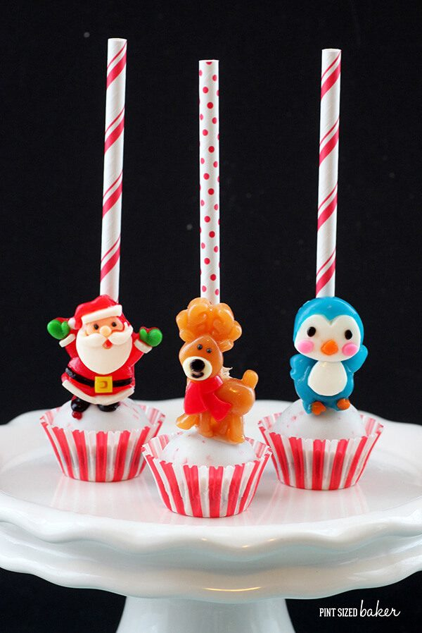 Easy Christmas Cake Pops made with gummy candies.