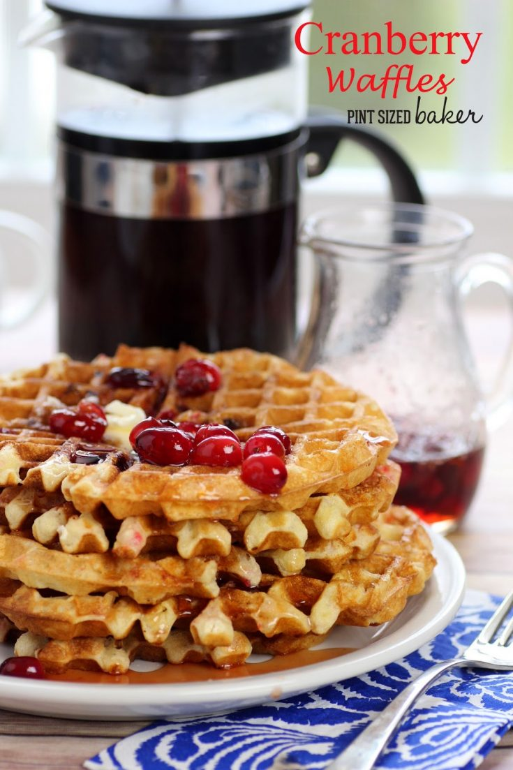 These Cranberry Waffles are so delicious! I love the Cranberry syrup as it adds a great flavor to the waffles! You have to try these!