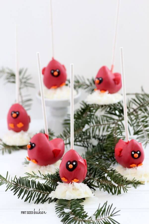 A flock of cardinals are great for a winter party. Cardinal Cake Pop Tutorial