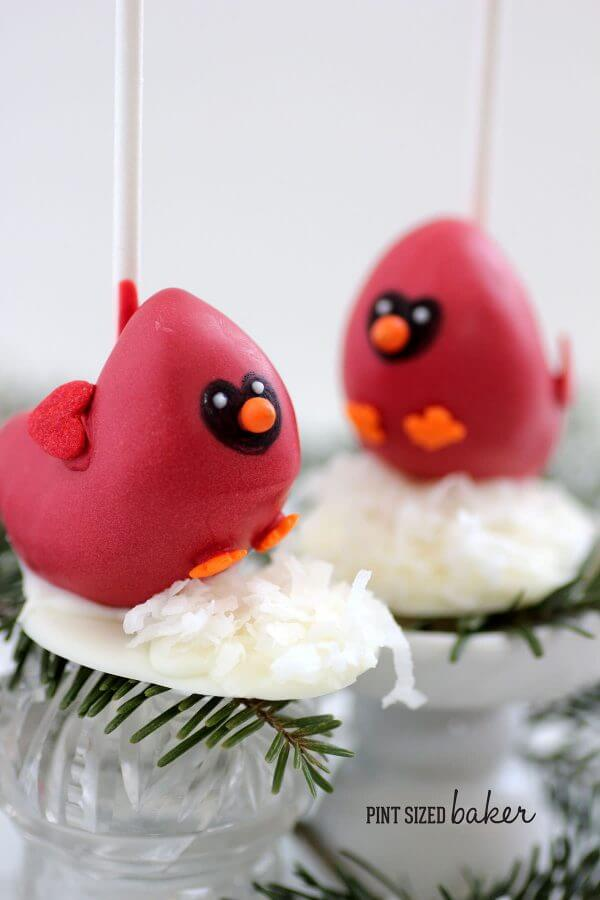 Winter Cardinal Cake Pops Tutorial. Learn how to make these cute cake pops that are great for a winter party.