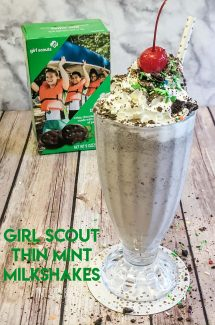 Enjoy a large Thin Mint Girl Scout Cookie Milkshake with whipped cream, sprinkles, and a cherry on top!