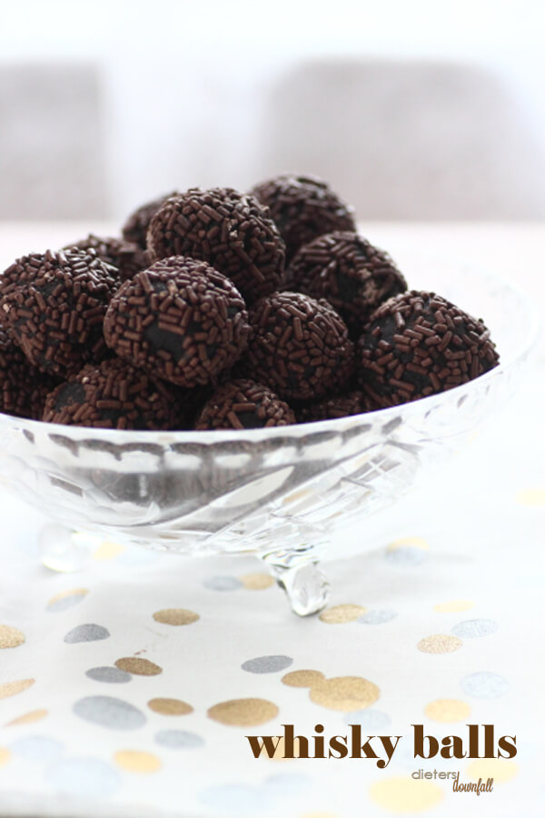 Whisky Balls come together quickly and easily. It's the perfect guy's treat.