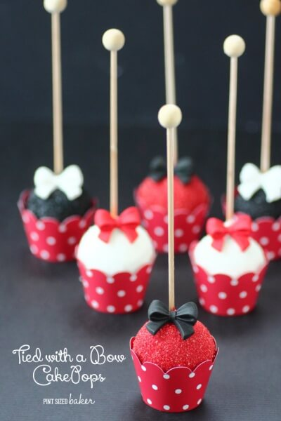 Red, White and Black Fancy Cake Pops