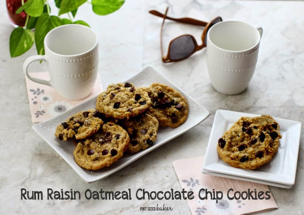 Soft Oatmeal Cookies with Rum soaked raisins and chocolate chips!